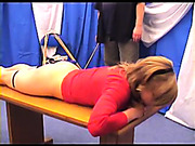 Hot Bianca was caned on the table