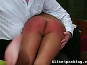 Teen babe was spanked for having a dildo