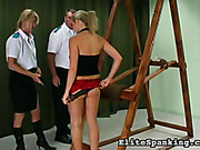 Security guards spanked disobedient little slut