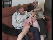 Totally nude brunette was spanked