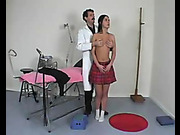 Spanking during medical examination for schoolgirl
