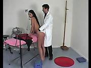Spanking during medical examination for schoolgirl