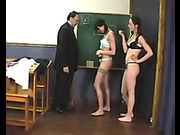 Schoolgirls were spanked by teacher in class