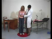 Humiliating medical exam and spanking for naughty babe