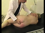 Busty hottie got bare ass spanking from doctor