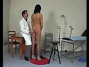 Stunning brunette got medical examination and harsh spanking