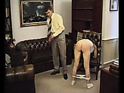 Tied babe suffered from paddling of her ass