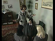 School newcomer girl was spanked well
