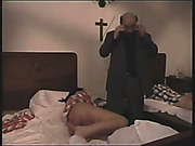 Severe caning of two girls in the hospital