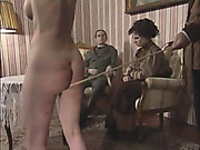 Brutal domestic caning for nude daughter