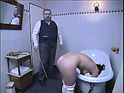 Hardcore caning of the blonde on the bench