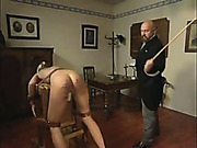 Severe punishment with cane for bent maid