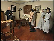 Brutal caning for tied to bench brunette
