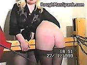 Blindfolded blonde got ass spanked hard