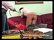 Lesbian babe was spanked by her girlfriend