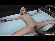 Mistress palyed with pussy and spanked slave girl