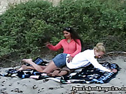 Strict auntie spanked young girl in public