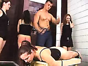 Russian babes spanked in the bathroom