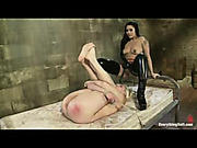Little blonde got into spanking trouble with mistress
