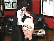 Little schoolgirl was punished on the desk