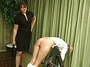Angry mother spanked girls