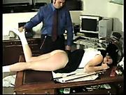 Lazy secretary was spanked by boss