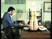Lazy secretary was spanked by boss
