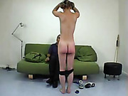 Wide spread ass cheeks got spanked red