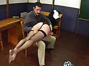 Two girls crying as getting spanked in class