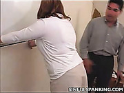 Lady boos was spanked hard by female employee