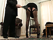 Blond MILF undressed and got spanking from hubby
