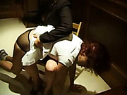Multiple spanking for redhead