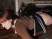 Tied to bench babe caned by aggressive man