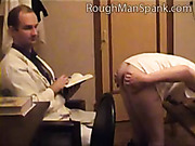 Doctor spanked a slutty babe's ass