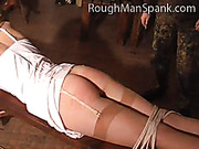 Cruel spanking master punished redhead cutie