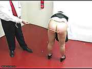 Bare ass babe took harsh caning from teacher