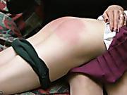 Shameful OTK spanking for a schoolgirl