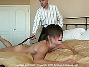 40 strokes of strapping for nude Abigail