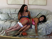 Young blonde in pink lingerie got FF spanking