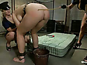 Lezdom spanking for hooker from bitchy female cops