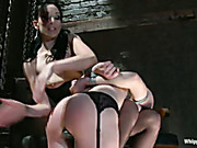 Obedient lesbian slave enjoys all the punishments