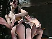 Obedient lesbian slave enjoys all the punishments