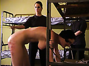 Senseless spanking of chubby ass in prison
