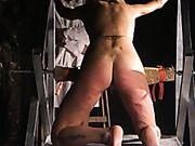 Brutal caning for nude