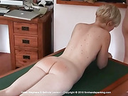 Stripped nude for a strapping