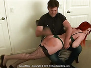 Alison Miller classic over-the-knee bare bottom spanking