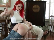 Bare bottom spanking with a hairbrush for pretty freshman
