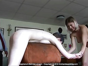 Helen Stephens totally nude for a final caning