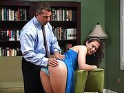 Mr. Aldo is unmoved and spanks her bare bottom