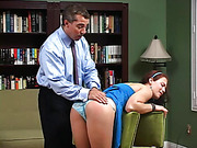 Mr. Aldo is unmoved and spanks her bare bottom